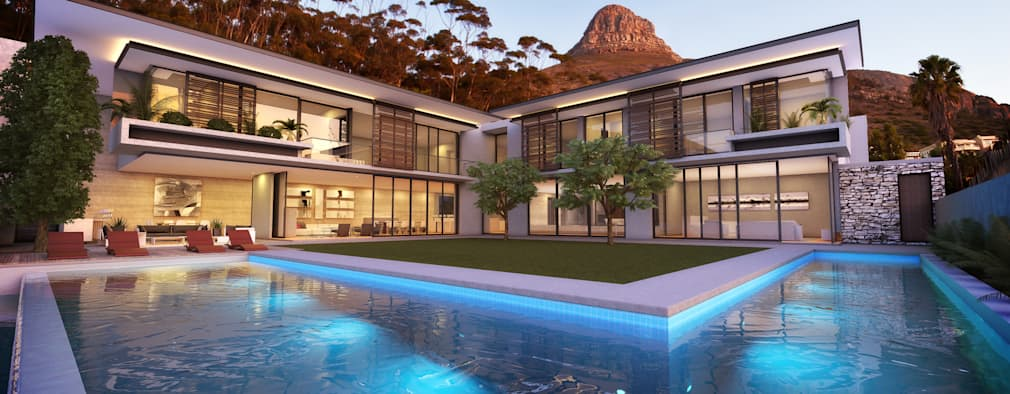 External Render: modern Houses by Jenny Mills Architects