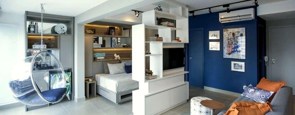Salas de estilo industrial por Aonze Arquitetura