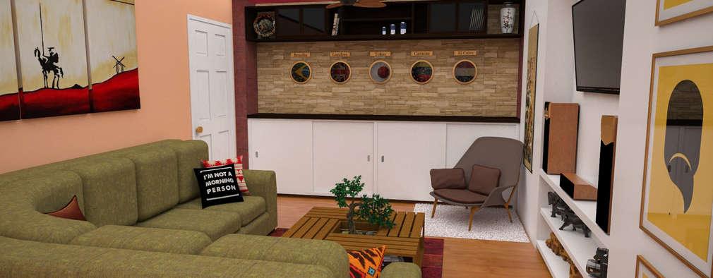 Apartamento pequeño con espacios multifuncionales y/o convertibles: Salas / recibidores de estilo moderno por Rbritointeriorismo