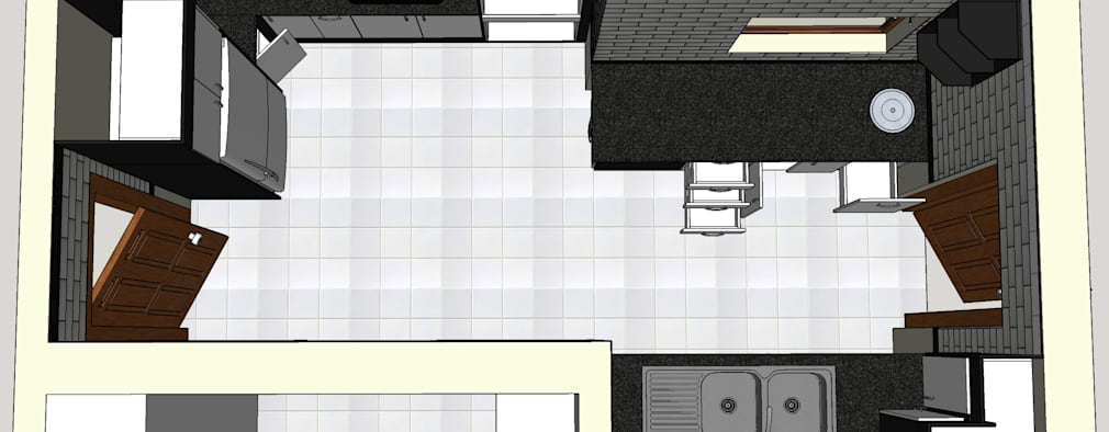 Design Top View including pantry addition. :   by Boss Custom Kitchens (PTY)LTD
