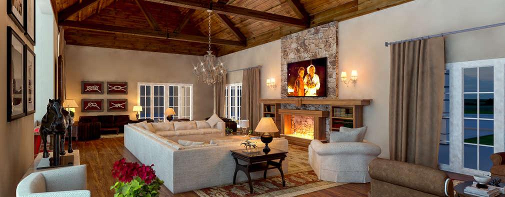 Salones de estilo rústico de Éfeso Arquitetura & Construção