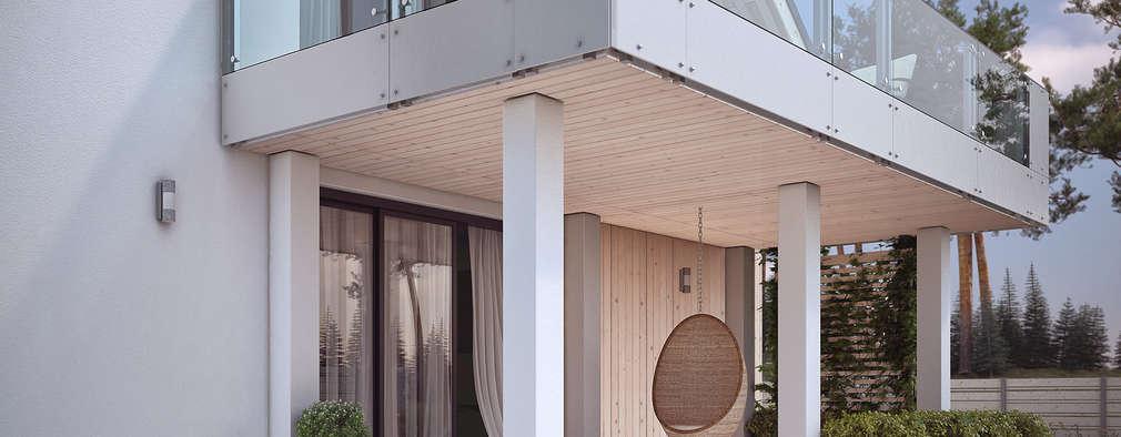 Wizualizacja projektu domu Amarylis 4: styl nowoczesne, w kategorii Domy zaprojektowany przez Biuro Projektów MTM Styl - domywstylu.pl