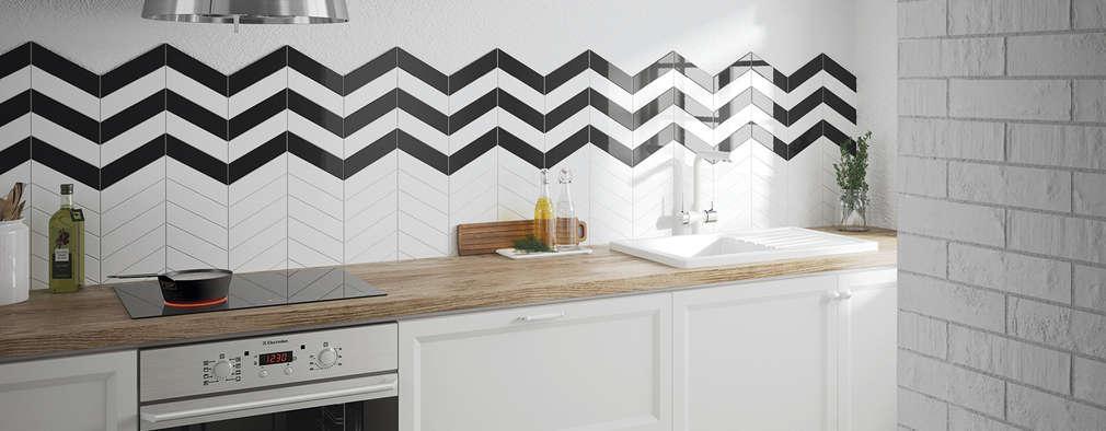Chevron Wall White, Black 18,6x5,2: Cocinas de estilo escandinavo de Equipe Ceramicas