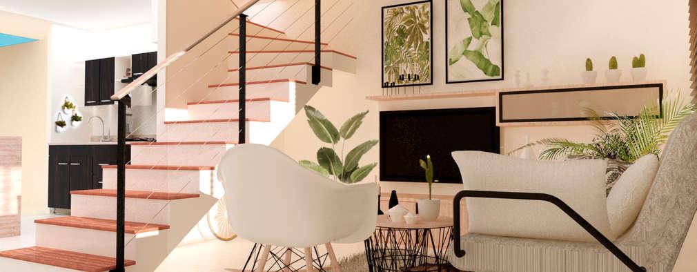 Salas / recibidores de estilo moderno por Polygon Arquitectura