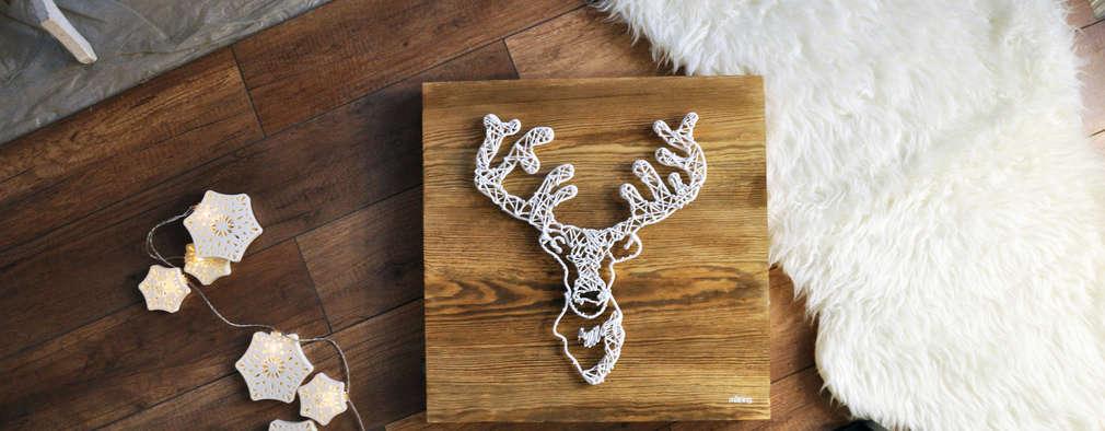 Obraz Świąteczny Życzenia Reniferów/ Scandinavian Country Natural/ 35x35cm: styl , w kategorii  zaprojektowany przez Malning Interior Tomasz Pabin