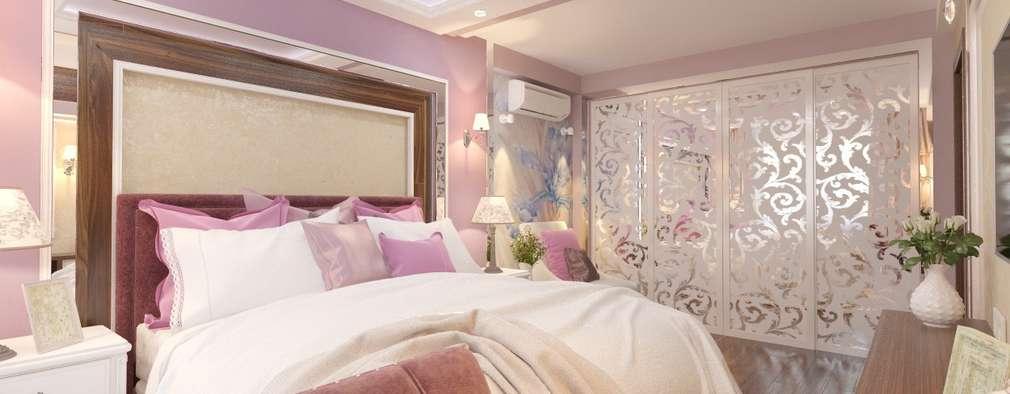Дизайн спальни 15 кв м в классическом стиле: Спальни в . Автор – Студия интерьера Дениса Серова