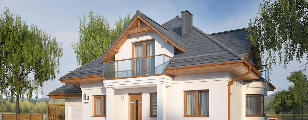 Wizualizacja projektu domu Wilga 4: styl nowoczesne, w kategorii Domy zaprojektowany przez Biuro Projektów MTM Styl - domywstylu.pl