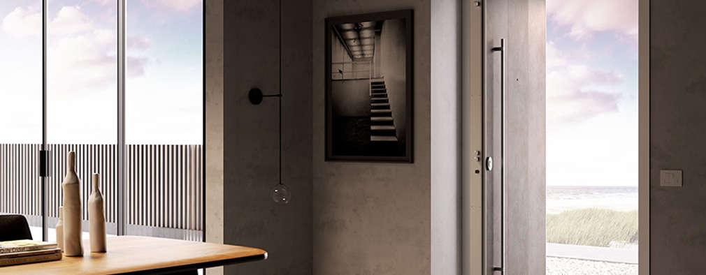 La porta blindata pivotante che coniuga sicurezza e design anche nelle grandi aperture.:  in stile  di Di.Bi.