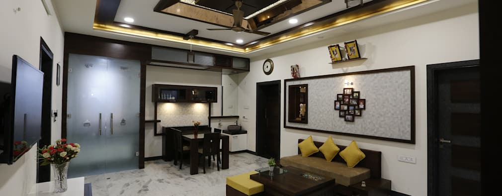 Living  lobby Area: modern Dining room by RAVI - NUPUR ARCHITECTS
