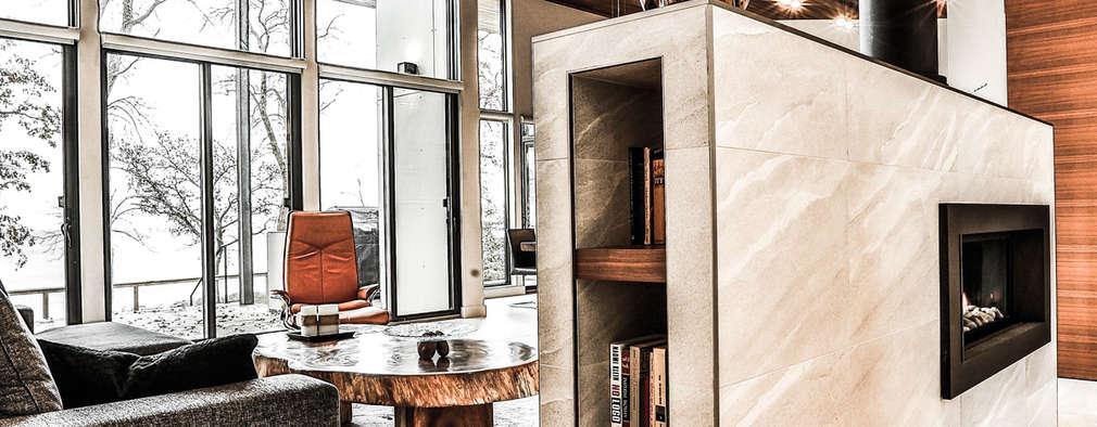 Winnipeg beach weekend home: modern Living room by Unit 7 Architecture