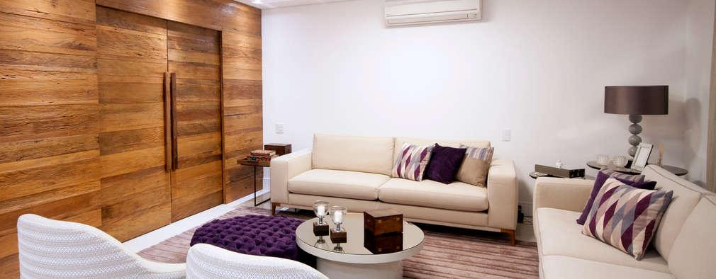 Sala de estar: Salas de estar ecléticas por Haus Brasil Arquitetura e Interiores