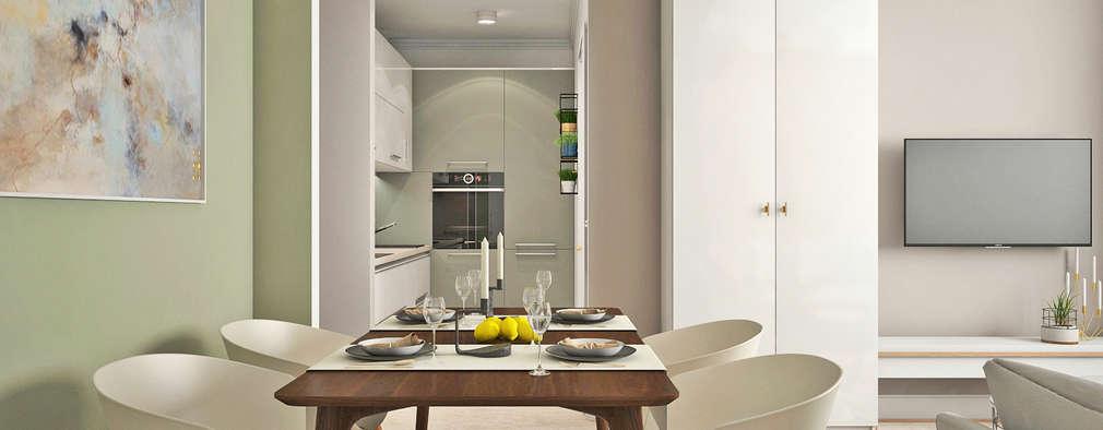 Кухня-гостиная ЖК Новое Измайлово: Столовые комнаты в . Автор – Ирина Рожкова - частный дизайнер интерьера