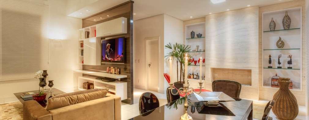 غرفة المعيشة تنفيذ Aleggra Design & Arquitetura - Janaina Naves
