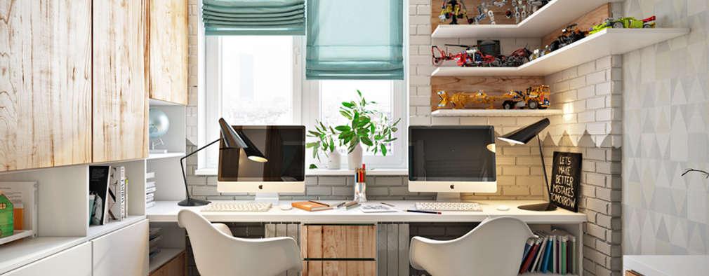 Квартира в скандинавском стиле: Рабочие кабинеты в . Автор – Дарья Баранович Дизайн Интерьера
