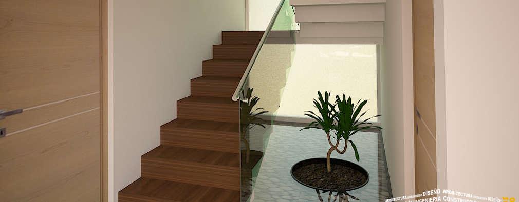 pasillos vestbulos y escaleras de estilo por hhrg arquitectos
