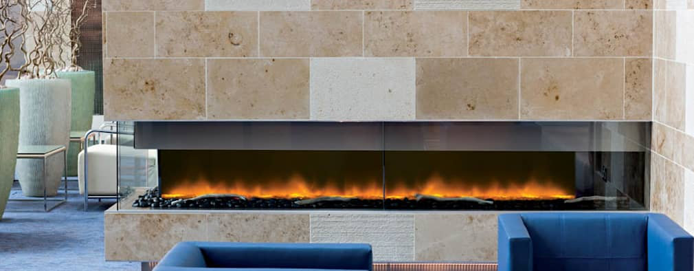 Electric Fires : modern Living room by The Platonic Fireplace Company
