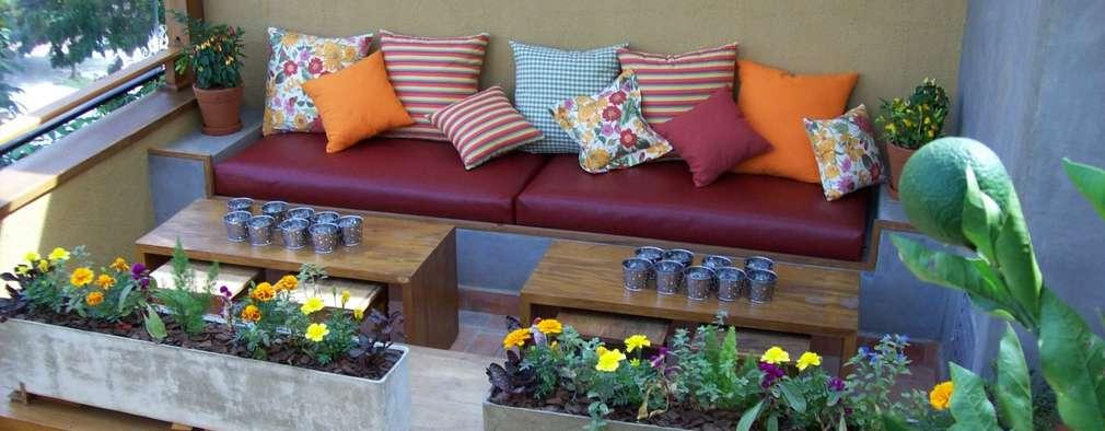 Jardines de estilo rústico por Empório Brasil Marcenaria