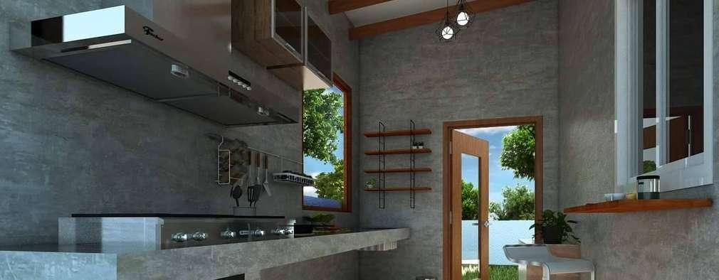 Una cocina de concreto tipo loft