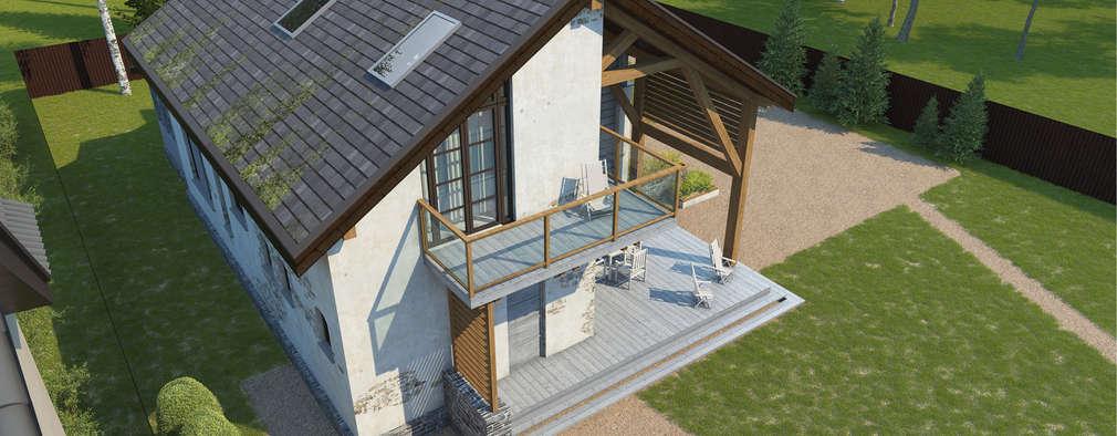 Общий вид сверху на вход в дом: Tерраса в . Автор – НБ_Частный Девелопмент