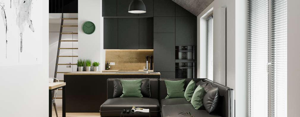 Salas / recibidores de estilo industrial por PRØJEKTYW   Architektura Wnętrz & Design