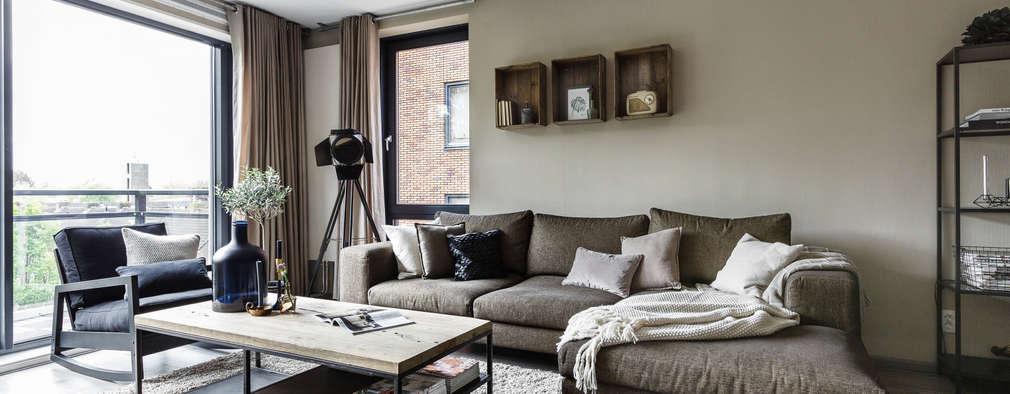 Private apartment: industriële Woonkamer door Marion van Vliet Interieurontwerp