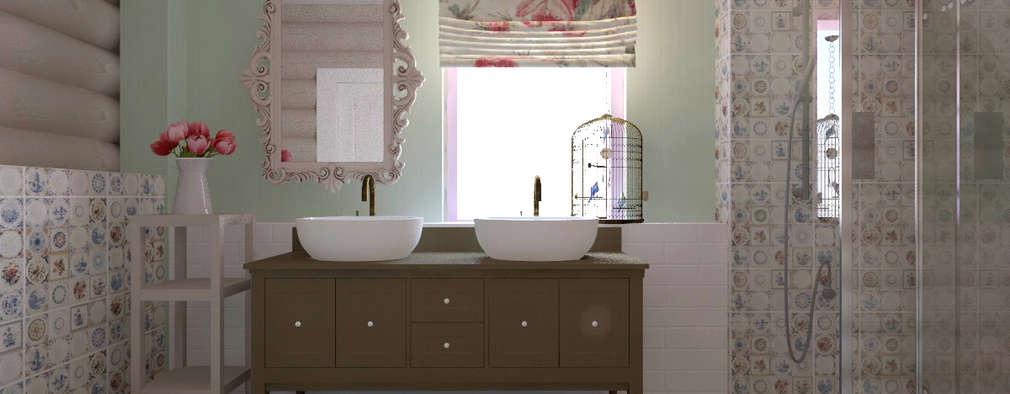 Загородный дом из белёного бруса: Ванные комнаты в . Автор – ARTWAY центр профессиональных дизайнеров и строителей