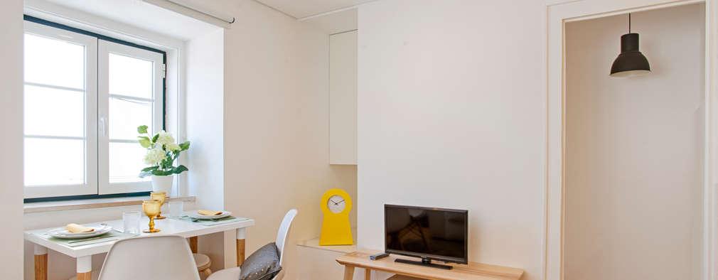 Sala de estar e zona de refeições: Salas de estar escandinavas por menta, creative architecture
