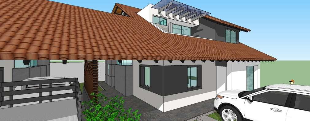 Fachada principal: Casas de estilo moderno por MARATEA Estudio