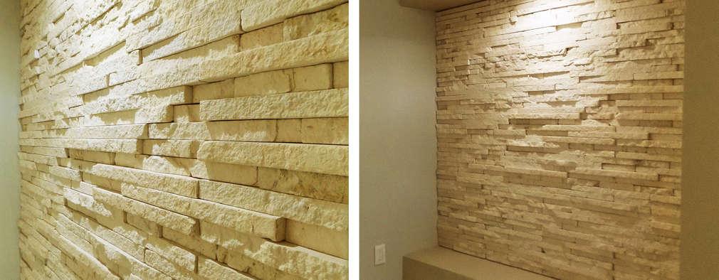 14 ideas con piedra y luces para tus paredes - Pared interior de piedra ...