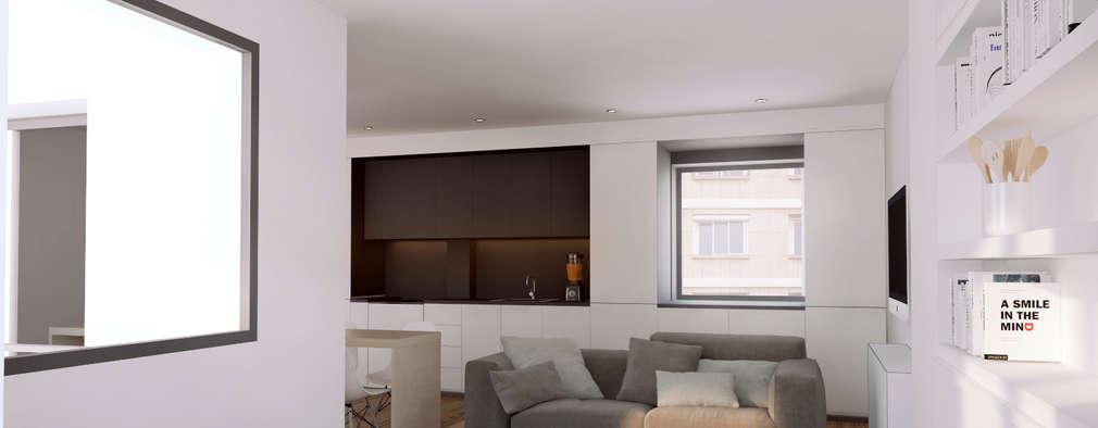Casa Born -50 m²-, Barcelona. Sala de estar.: Salones de estilo moderno de GokoStudio
