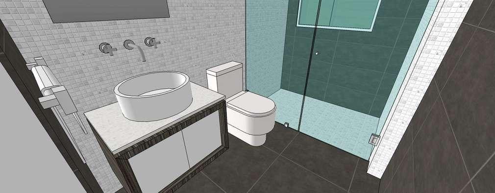Apto. N°1. baño de la habitación principal: Baños de estilo minimalista por MARATEA Estudio