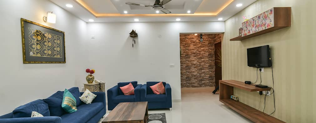 Gloryfields Apartment - Bangalore: classic Living room by Wenzelsmith Interior Design Pvt Ltd