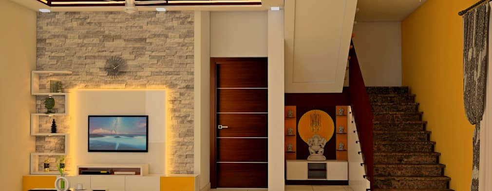 Mantri Webcity, Duplex 3 BHK - Mr. Vishal: modern Living room by DECOR DREAMS