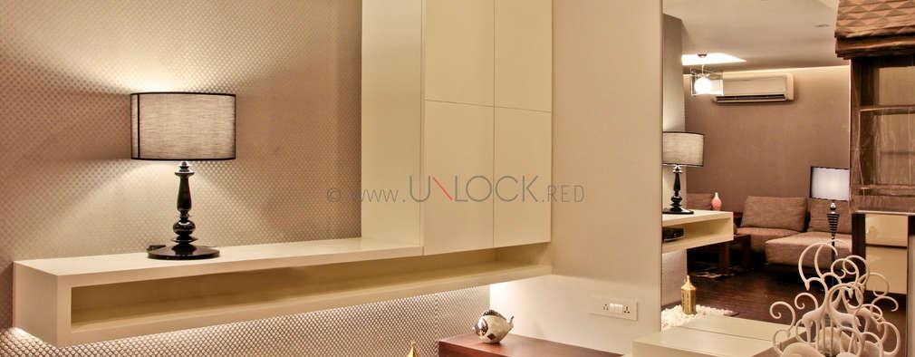 master bedroom tv unit: modern Bedroom by UNLOCK ©™
