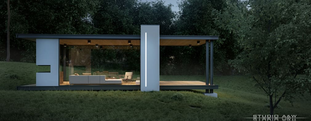 modernes gartenhaus in transparentem design. Black Bedroom Furniture Sets. Home Design Ideas