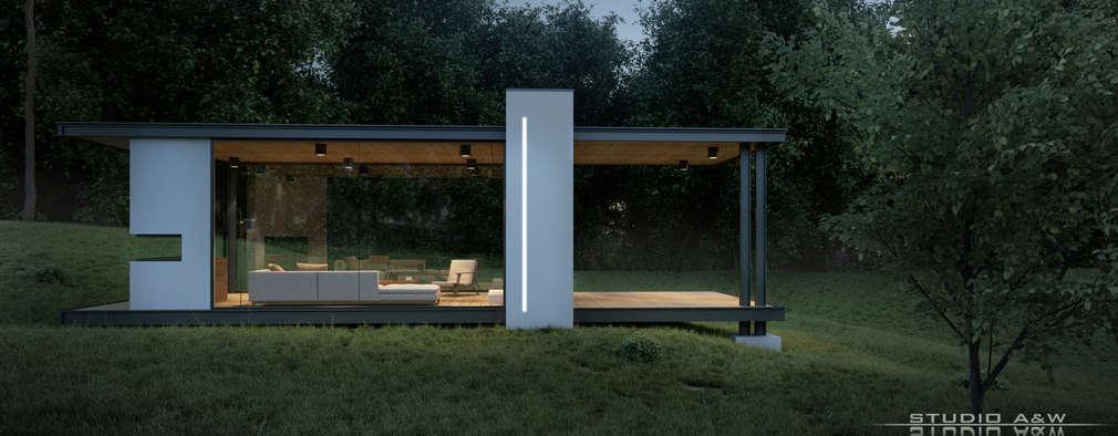 Modernes Gartenhaus in transparentem Design