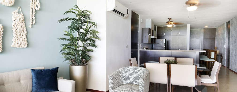 Projekty,  Salon zaprojektowane przez PORTO Arquitectura + Diseño de Interiores