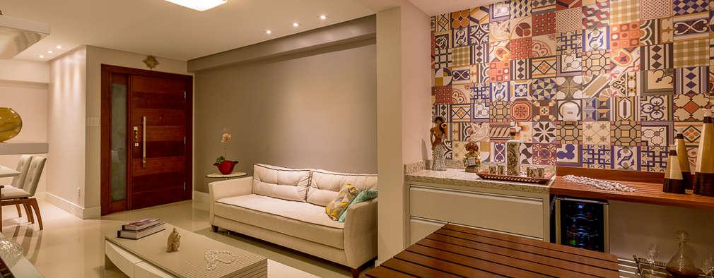 rustic Living room by DM ARQUITETURA E ENGENHARIA