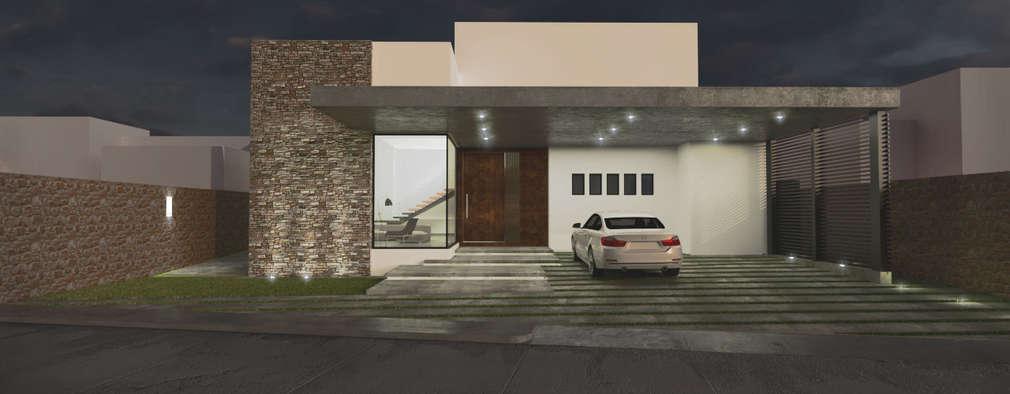 Fachada frontal principal: Casas unifamiliares de estilo  por Summa Arquitectura