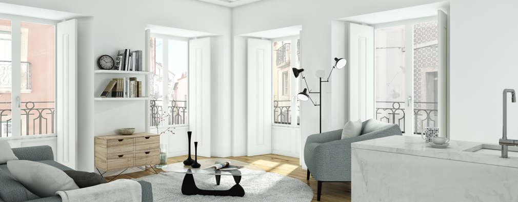 São Vicente 44 - Stone Capital: Salas de estar modernas por Onstudio Lda