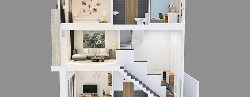 Mẫu Nhà Phố 1 Trệt 1 Lửng 1 Lầu Đẹp Được Ưa Chuộng Năm 2018:  Nhà gia đình by Công ty TNHH Xây Dựng TM – DV Song Phát