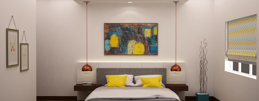 Headboard and lighting : modern Bedroom by NVT Quality Build solution