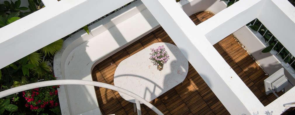 Ngắm Ngôi Nhà 1 Trệt 2 Lầu 6x8m Với Thiết Kế Mặt Tiền Đẹp, Độc Đáo:  Hiên, sân thượng by Công ty TNHH Xây Dựng TM – DV Song Phát