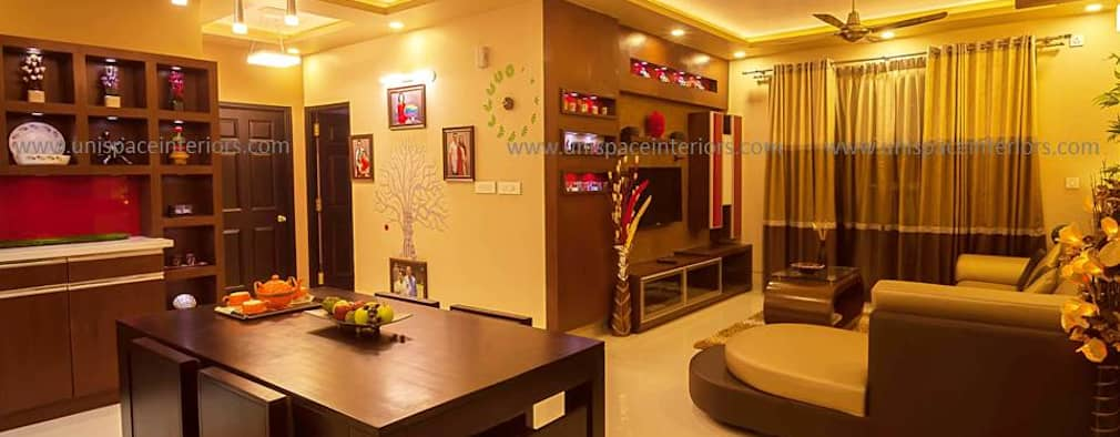CONTEMPORARY INTERIORS BUNGALOW -RESIDENCE-APARTMENT- VILLA INTERIOR-DINING ROOM:   by UNISPACE INTERIOR