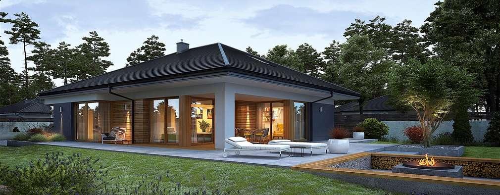 Projekt domu Tanita G2  - nowoczesny dom parterowy dla rodziny 2+2: styl , w kategorii Dom jednorodzinny zaprojektowany przez Pracownia Projektowa ARCHIPELAG