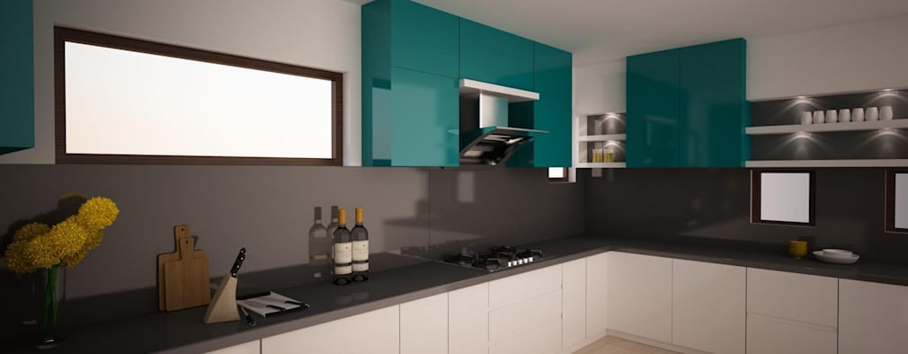 Kitchen Render - Triple colour combo : modern Kitchen by NVT Quality Build solution