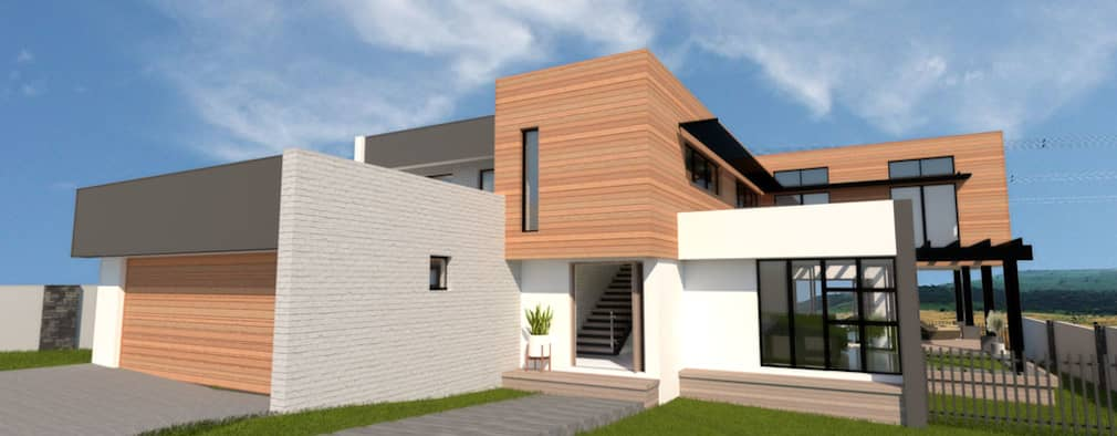 Front Facade:  Single family home by A4AC Architects
