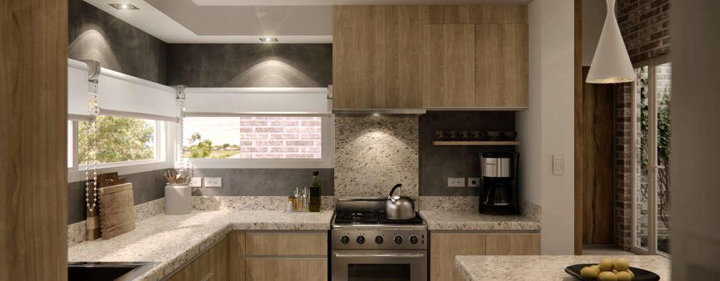 Cocina: Cocinas a medida  de estilo  por WE ARQUITECTURA