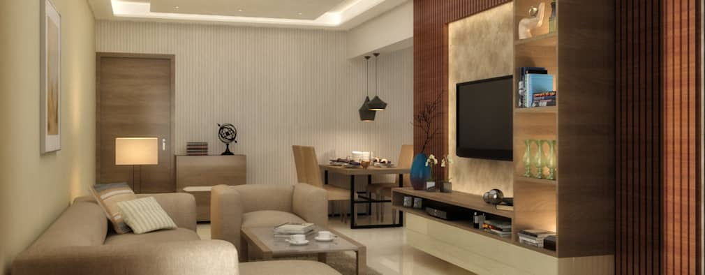 LIVING & DINING AREA: minimalistic Living room by A Design Studio