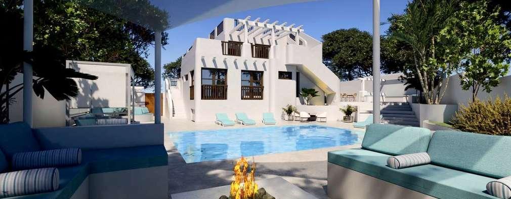 Exterior y piscina: Piscinas de estilo mediterráneo de Pacheco & Asociados